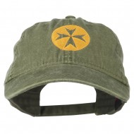 Circle Cross Design Embroidered Cap - Olive