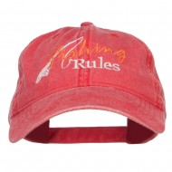 Fishing Rules Embroidered Washed Cap - Red