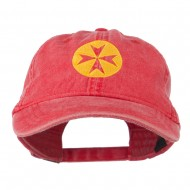 Circle Cross Design Embroidered Cap - Red