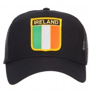 Ireland Flag Shield Patched Mesh Cap - Black