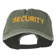 Security Letter Embroidered Big Size Washed Cap - Olive