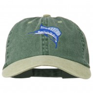 Sailfish Embroidered Two Toned Washed Cap - Khaki Green