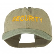 Security Letter Embroidered Big Size Washed Cap - Khaki Olive