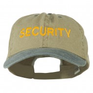 Security Letter Embroidered Big Size Washed Cap - Khaki Navy