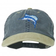 Sailfish Embroidered Two Toned Washed Cap - Beige Navy