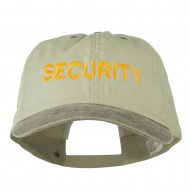 Security Letter Embroidered Big Size Washed Cap - Putty Brown