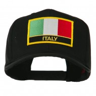 Italy Flag Patched Twill Pro Style Cap - Black