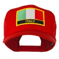 Italy Flag Patched Twill Pro Style Cap - Red