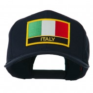 Italy Flag Patched Twill Pro Style Cap - Navy
