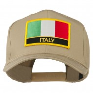 Italy Flag Patched Twill Pro Style Cap - Khaki