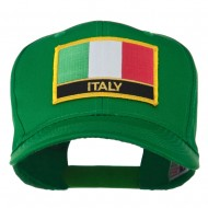 Italy Flag Patched Twill Pro Style Cap - Kelly