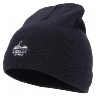River Rats Vietnam with Riverboat Embroidered 8 Inch Knitted Short Beanie - Navy
