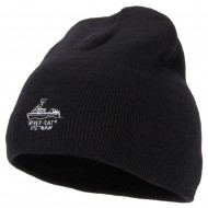 River Rats Vietnam with Riverboat Embroidered 8 Inch Knitted Short Beanie - Black