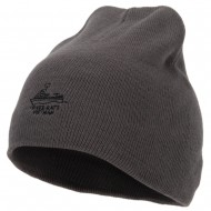 River Rats Vietnam with Riverboat Embroidered 8 Inch Knitted Short Beanie - Dk Grey