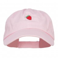 Mini Strawberry Embroidered Low Cap - Pink