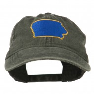 Iowa State Map Embroidered Washed Cap - Black