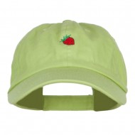 Mini Strawberry Embroidered Low Cap - Apple Green