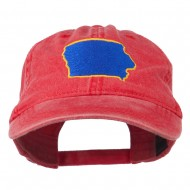 Iowa State Map Embroidered Washed Cap - Red