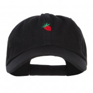 Mini Strawberry Embroidered Low Cap - Black