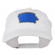 Iowa State Map Embroidered Washed Cap - White