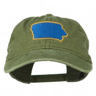 Iowa State Map Embroidered Washed Cap - Olive Green