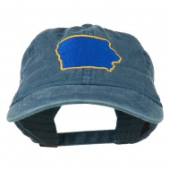 Iowa State Map Embroidered Washed Cap - Navy