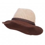Women's Knit Wide Brim Fedora - Beige Brown