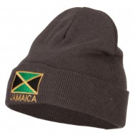 Jamaica Flag Embroidered Big Size Long Beanie - Grey