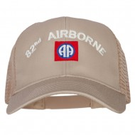 82nd Airborne Logo Embroidered Solid Cotton Mesh Pro Cap - Khaki