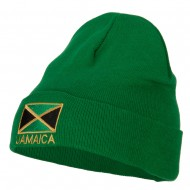Jamaica Flag Embroidered Big Size Long Beanie - Kelly