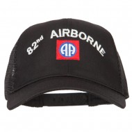 82nd Airborne Logo Embroidered Solid Cotton Mesh Pro Cap - Black