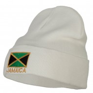 Jamaica Flag Embroidered Big Size Long Beanie - White