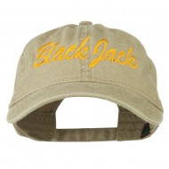Black Jack Embroidered Washed Cap - Khaki