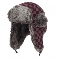 Jacquard Checkered Trooper Hat - Purple