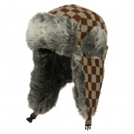 Jacquard Checkered Trooper Hat - Brown