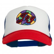 Joy Embroidered Two Tone Foam Mesh Back Cap - Red White Royal