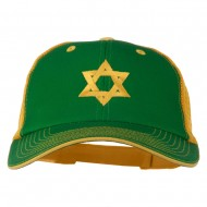 Jewish Star Embroidered Big Size Mesh Cap - Kelly Gold