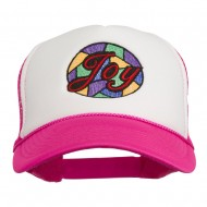 Joy Embroidered Two Tone Foam Mesh Back Cap - Hot Pink White