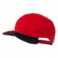 Jersey Fabric 5 Panel Snapback Cap - Red