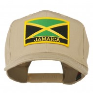 Jamaica Flag Letter Patched High Profile Cap - Khaki