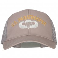 US Paratrooper Embroidered Solid Cotton Mesh Pro Cap - Grey
