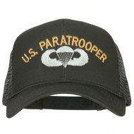 US Paratrooper Embroidered Solid Cotton Mesh Pro Cap - Charcoal