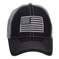 Silver American Flag Embroidered Trucker Cap - Black Grey
