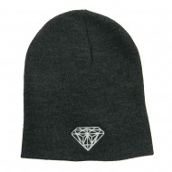 Big Size Diamond Embroidered Short Beanie - Charcoal