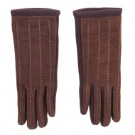 Women's Jersey Leather Texting Gloves - Brown