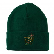 Joy with Mistletoe Embroidered Long Beanie - Green