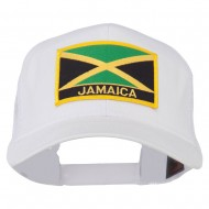 Jamaica Flag Letter Patched Mesh Back Cap - White