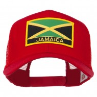 Jamaica Flag Letter Patched Mesh Back Cap - Red