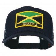 Jamaica Flag Letter Patched Mesh Back Cap - Navy