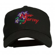 US State New Jersey Violet Flower Embroidered Cap - Black